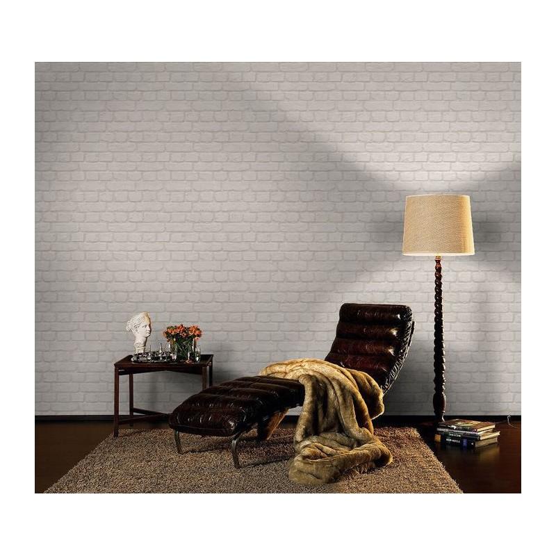 Ściana z tapetą imitującą cegły