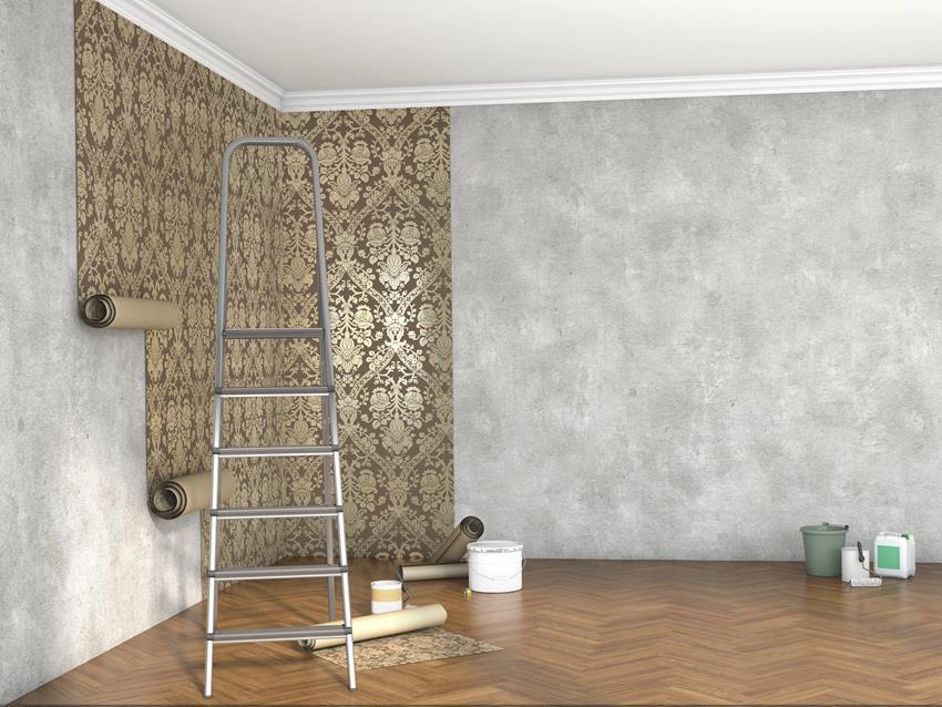 Nierówna ściana a tapeta