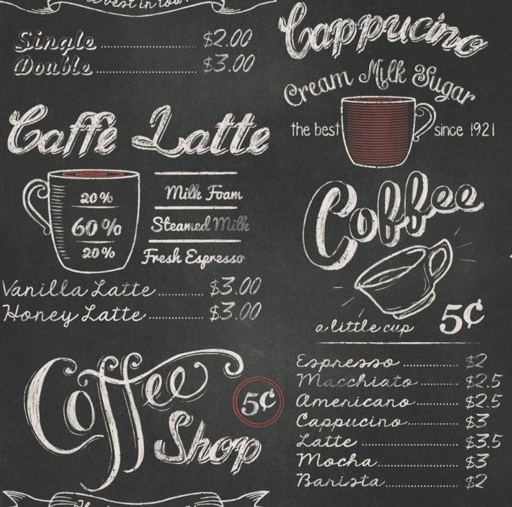 Tapeta imitująca tablicę w kawiarnii z menu i rysunkami kawy